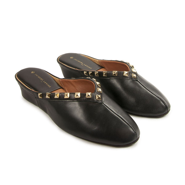 Jacques Levine Pyramid Stud Slippers in Black