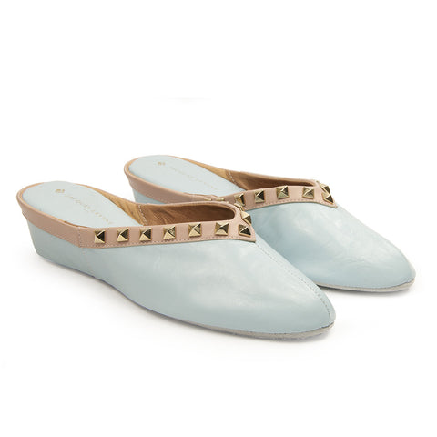 Jacques Levine Pyramid Stud Slippers in Blue