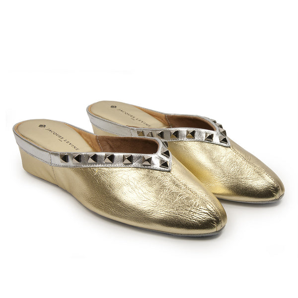 Jacques Levine Pyramid Stud Slippers in Gold Silver