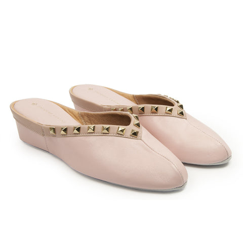 Jacques Levine Pyramid Stud Slippers in Pink