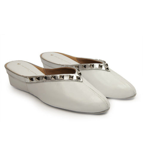 Jacques Levine Pyramid Stud Slippers in White Metallic
