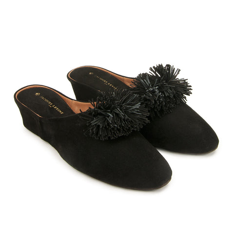 Jacques Levine Poms Slippers in Black