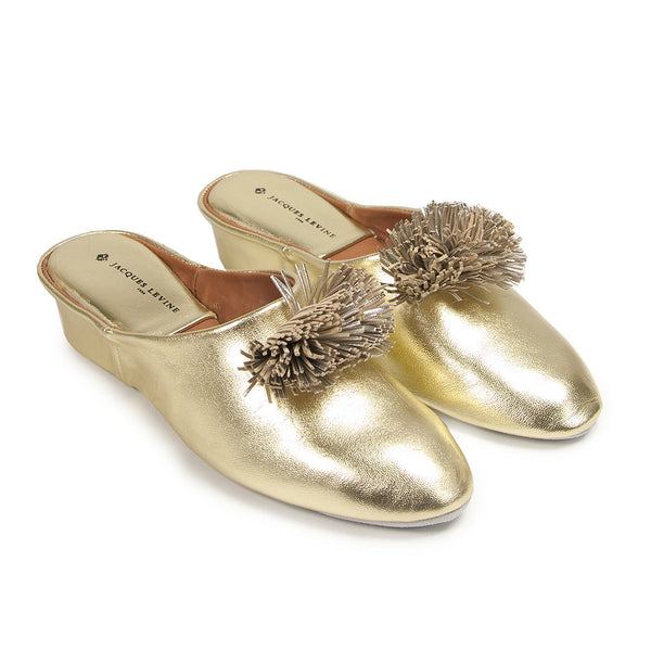 Jacques Levine Poms  Slippers in Gold Silver