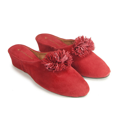 Jacques Levine Poms Slippers in Red