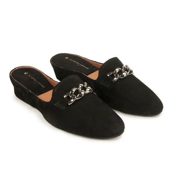 Jacques Levine Chaine Slippers in Black