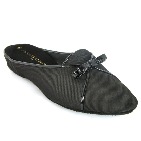 Jacques Levine #18709 Belgian Grosgrain Women's Slipper in Black