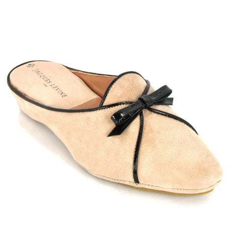 Jacques Levine #18709 Belgian Women's Slipper in Blush Suede