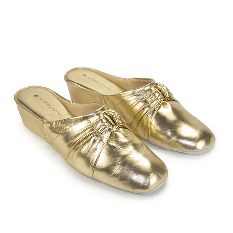 Jacques Levine PLISE Slippers in Gold