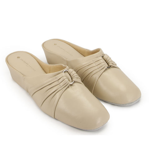 Jacques Levine PLISE Slippers in Ivory