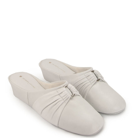 Jacques Levine PLISE Slippers in White