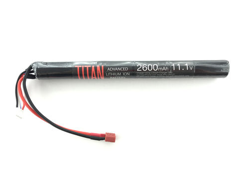 Titan 2600mah 11.1v Airsoft Battery Stick T-Plug (Deans)