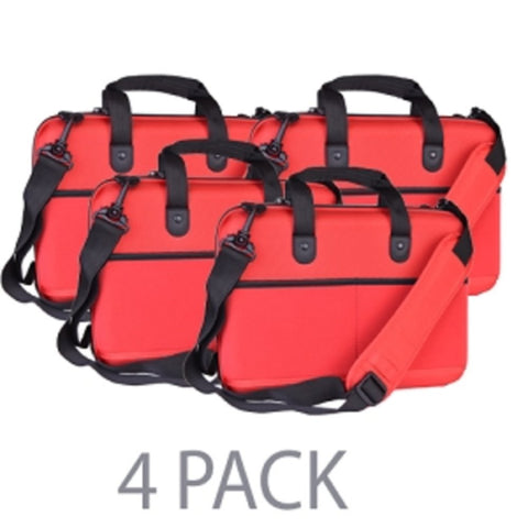 (4-Pack) Cocoon CPS365RD EVA Shock-Absorbent Laptop Case w/Shoulder Strap & Grid-It Organization System - Fits 13 (Red) - School Tech
