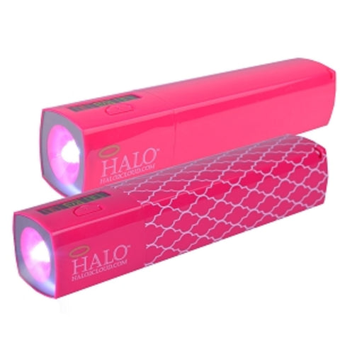 (2-Pack) Halo Pocket Power Starlight 3000mAh Power Bank w/Charging Cable 30-Pin Adapter & LED Flashlight (Pink) - School Tech