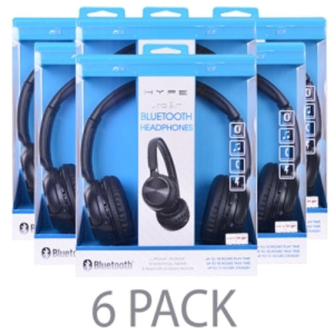 (6-Pack) Hype HY-10486-BLK Ultra Slim Bluetooth Wireless Rechargeable Stereo Headphones w/Microphone (Black) - School Tech
