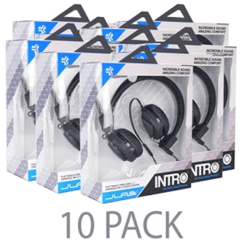(10-Pack) JLab Intro On-Ear Stereo Headphones w/Inline Microphone Track Controls & Tangle-Free Flat Cable (Black) - School Tech