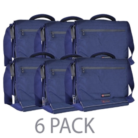 (6-Pack) ECBC Poseidon Padded Kodra Notebook & Tablet Messenger Bag w/Adjustable Shoulder Strap - Fits up to 13 (Blue) - School Tech