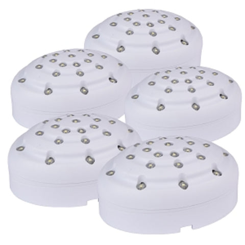 (4-Retail Packs - 20 Total Lamps) AmerTac Amerelle LED Accent Puck Lighting Kit with 5 LED Lamps (White) - School Tech
