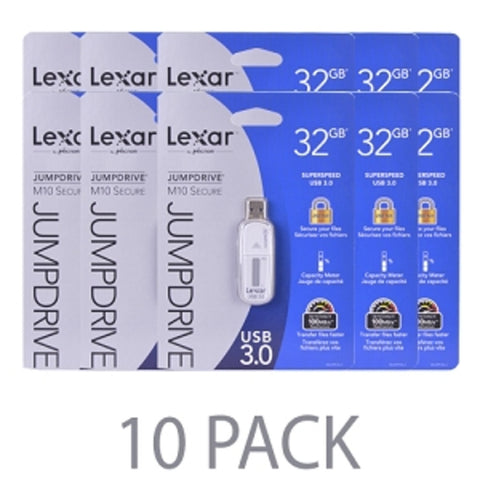 (10-Pack) Lexar JumpDrive M10 32GB SuperSpeed USB 3.0 Flash Drive (Gray) - Retail Hanging Package - School Tech