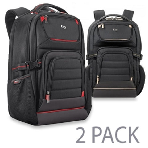 (2-Pack) Solo PRO742 Padded Polyester Notebook Backpack - Fits up to 17.3 (Black/Red & Black/Gold) - School Tech
