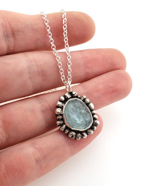 Kathryn Riechert necklace made of silver and aquamarine