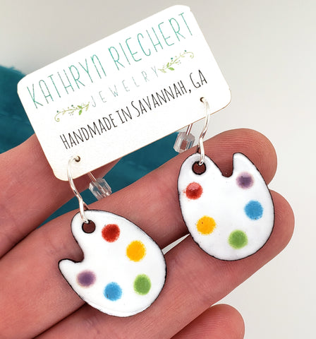 artist palette earrings by Kathryn Riechert