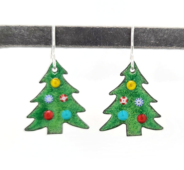 colorful ornaments on green Christmas tree earrings