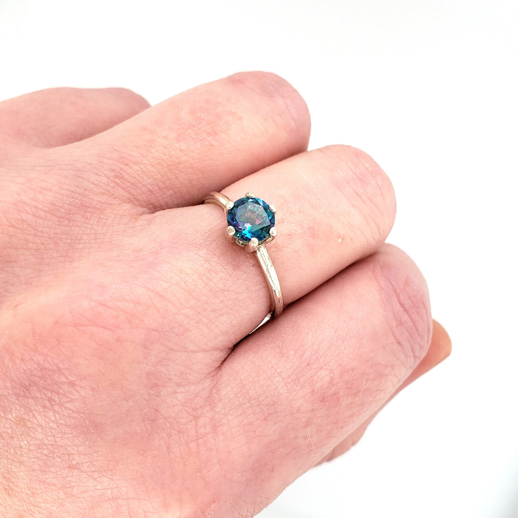 blue topaz ring with sterling silver band