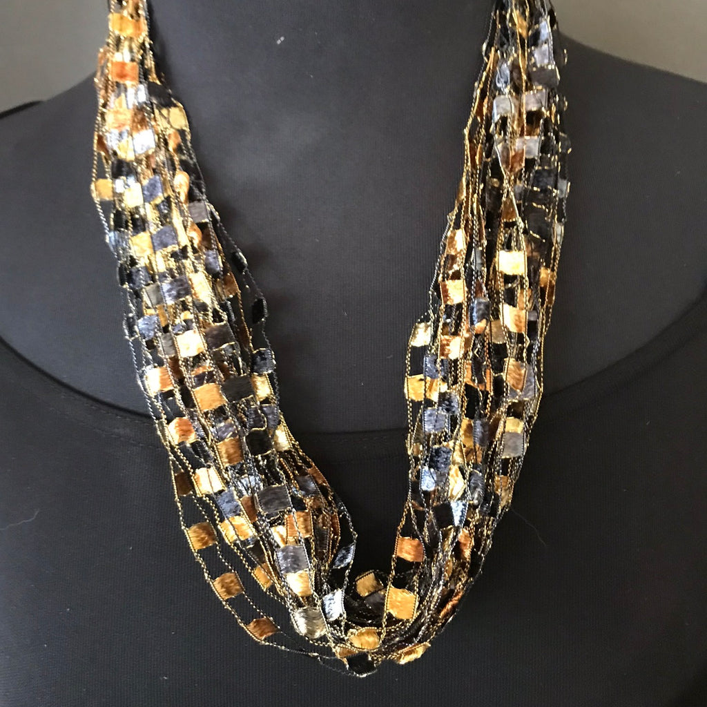 autumn tone ribbon necklace by Gini Steele
