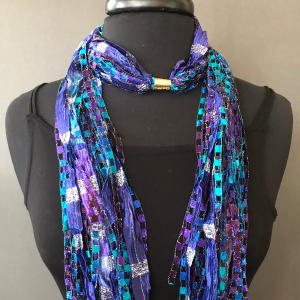 indigo blue fiber scarf necklace