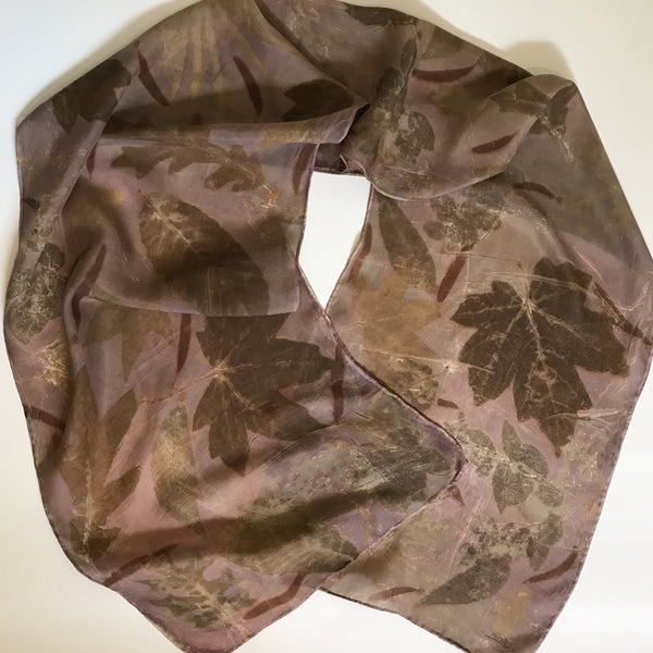 Botanical Printed & Dyed Silk Scarf - Cochineal
