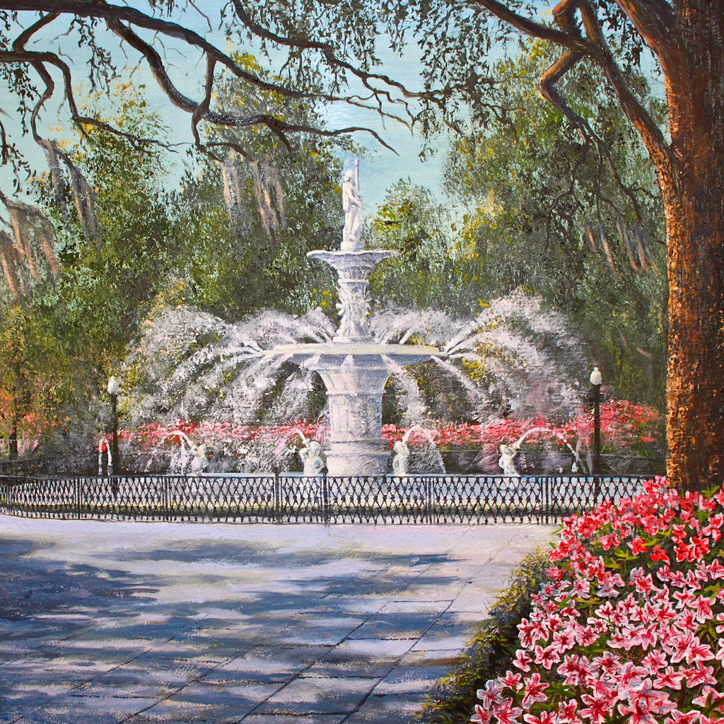 Bill Rousseau fine art print of Savannah's Forsyth Fountain