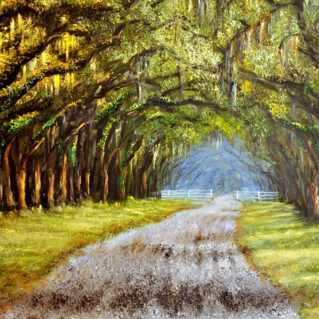 painting of Wormsloe Plantation in Savannah, GA by Bill Rousseau