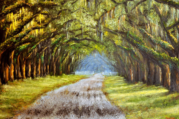 fine art print of an oak tree lane in Savannah Georgia