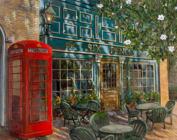 Bill Rousseau's fine art print of a downtown Savannah pub