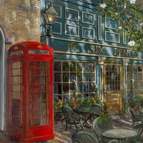 painting of the Six Pence Pub in Savannah, GA