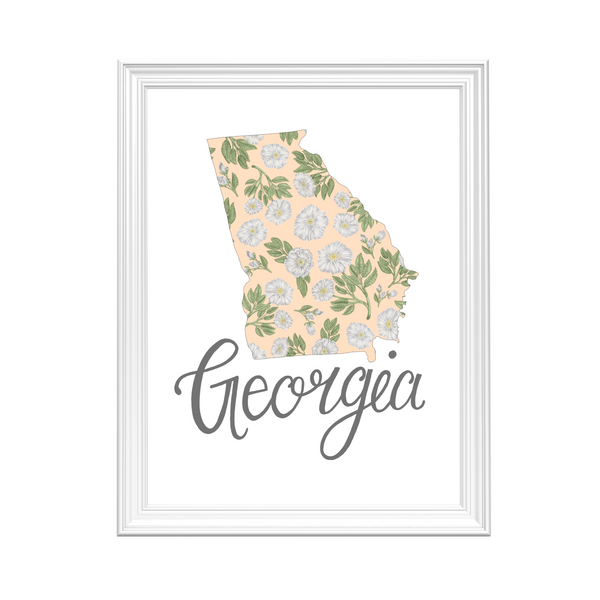 Georgia State Map Art Print by Erica Catherine Gallery 209