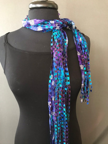 tied fiber ribbon necklace made in Savannah GA