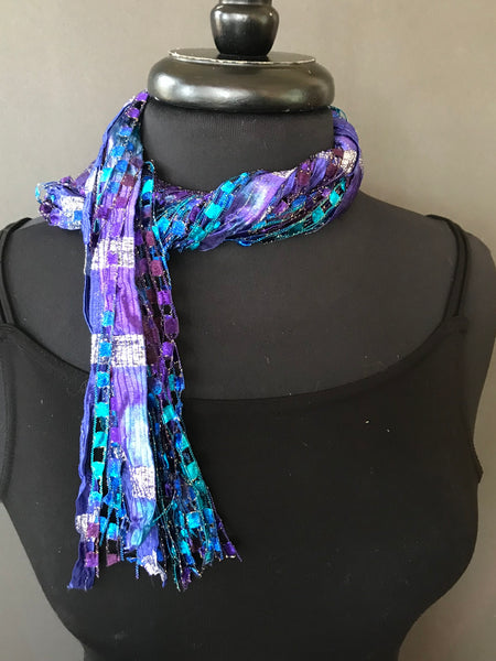 blue ribbon necklace or neck tie