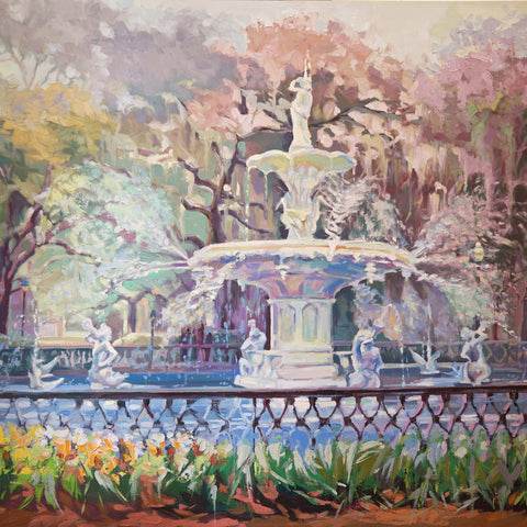 Forsyth Fountain in Savannah GA, painting at Gallery 209
