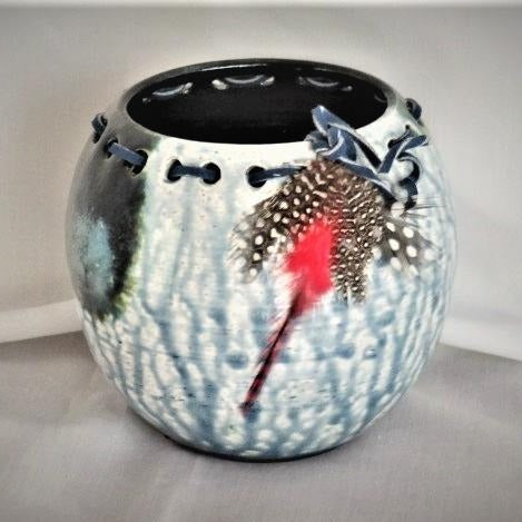 One Fed Feather Raku Vessel by Deborah Mueller Gallery 209