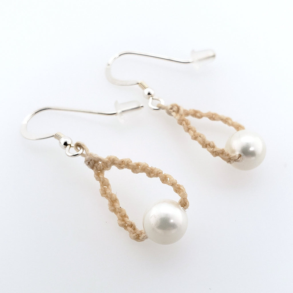hand knotted linen earrings