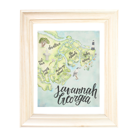 Savannah GA Map by Erica Catherine Gallery 209
