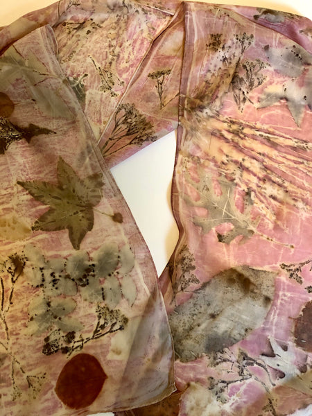 Botanical Dyed & Printed Silk Scarf- Cochineal Blush Pink