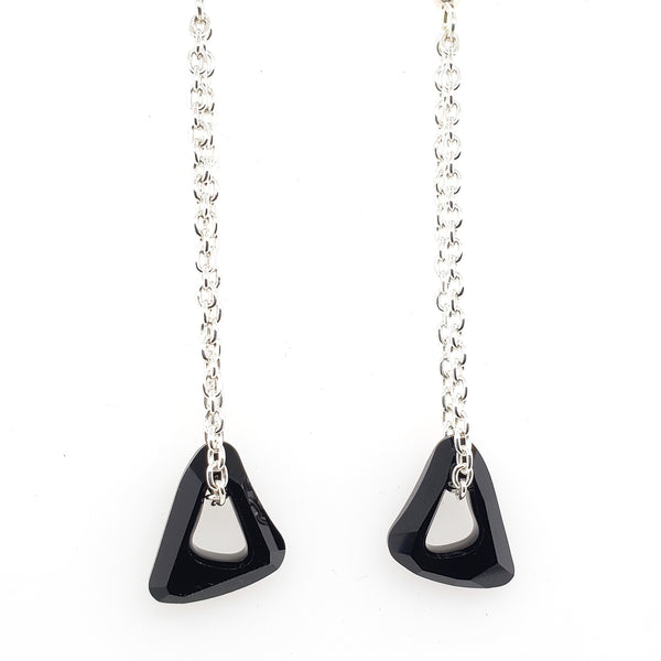 long dangly earrings with black crystals