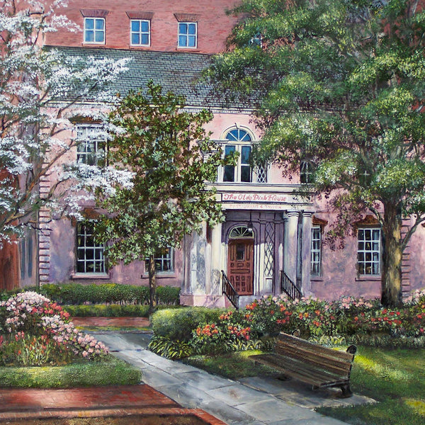 Savannah Spring, Olde Pink House painting by Bill Rousseau