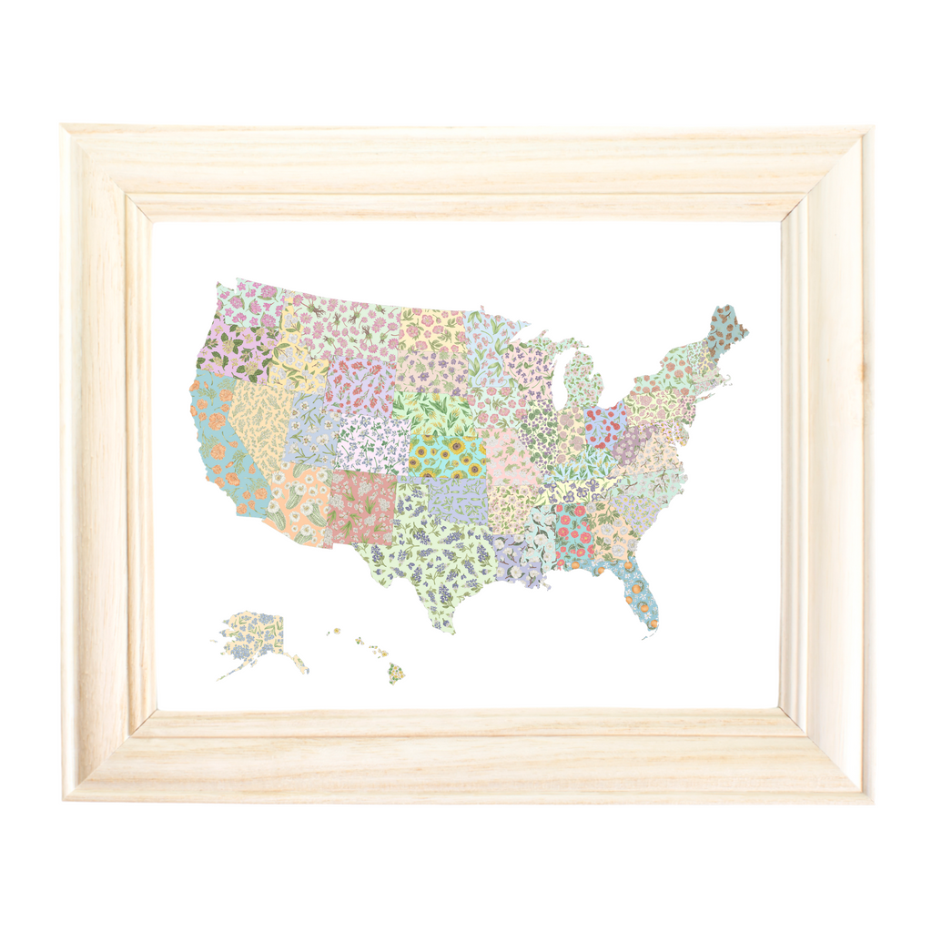 US State Flower Map Art Print by Erica Catherine Gallery 209