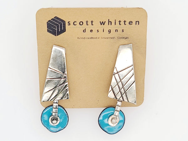 Modern Sterling and Blue Enamel Stud Drop Earrings by Scott Whitten Gallery 209