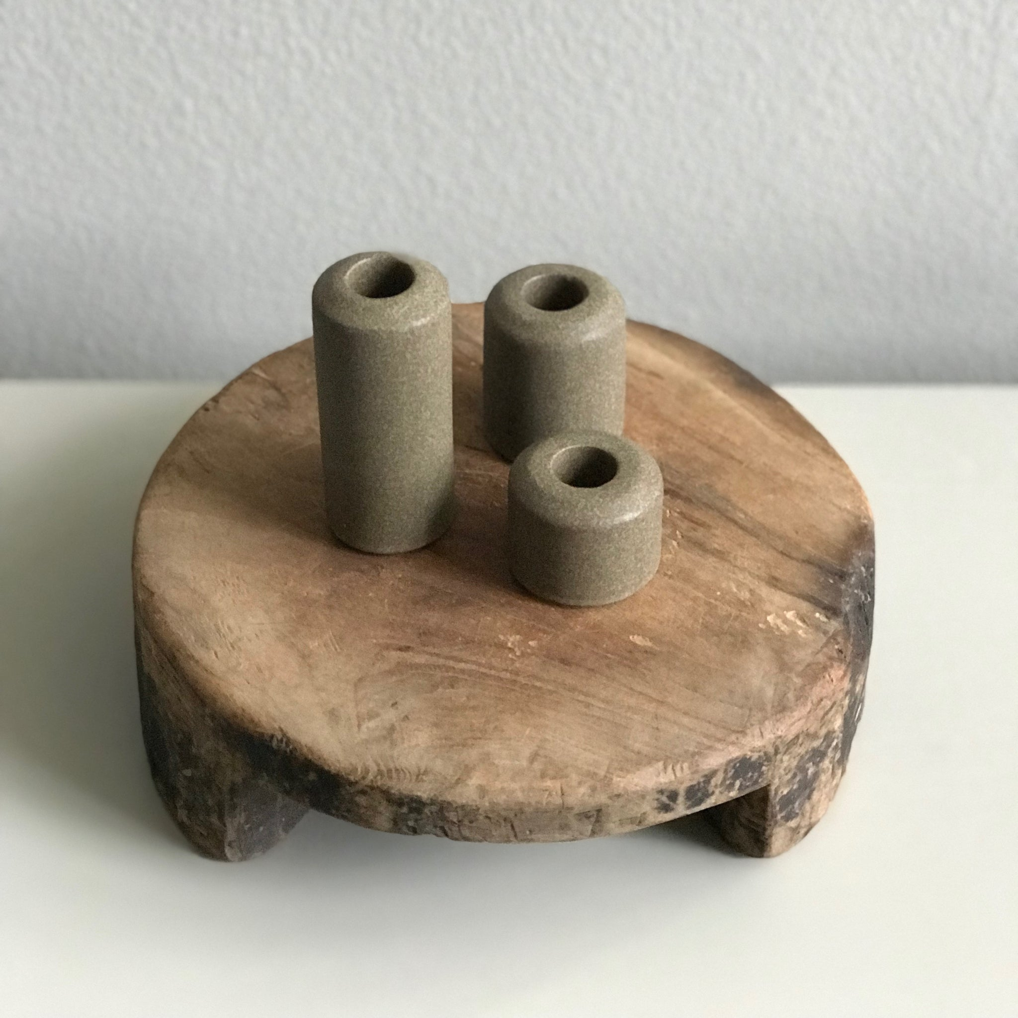 STONEWARE PILLAR HOLDERS