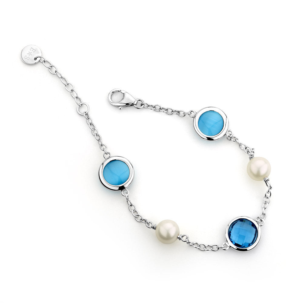 Sterling silver blue crystal and white pearl bracelet rhodium plated