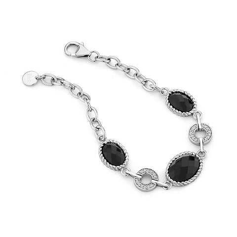 Sterling silver black onyx and white CZ rhodium plated